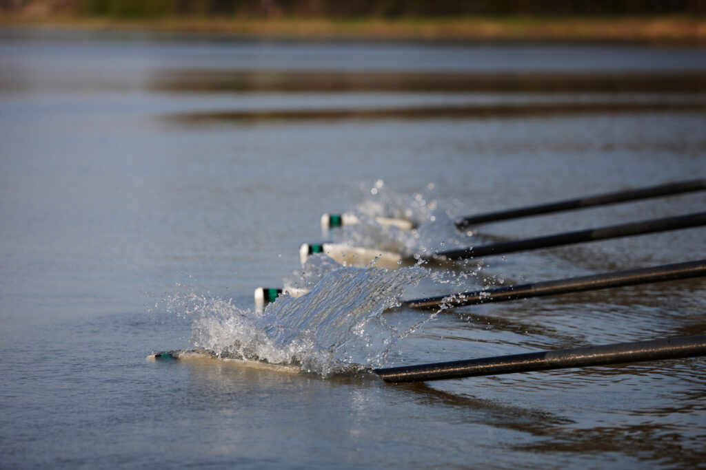 boat paddles in water